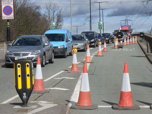 Traffic backing up as a result of the lane closure on the A34 flyover in Great Barr due to the street light replacement work