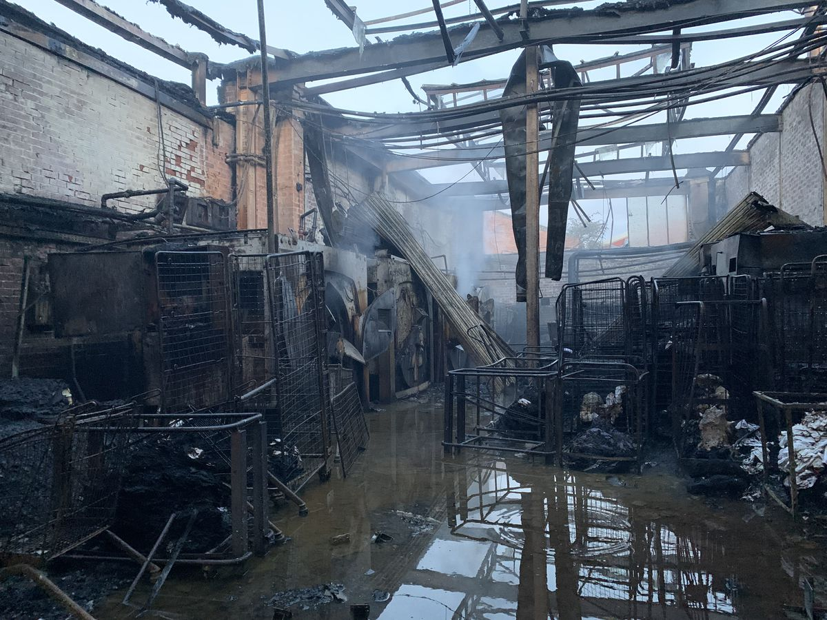 The blaze has caused significant damage to the building. Photo: West Midlands Fire Service