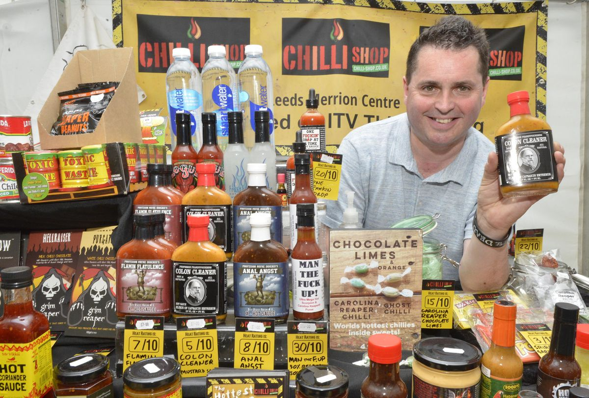Frank Jay from Leeds with a range of Chilli products at the Great British Food Festival