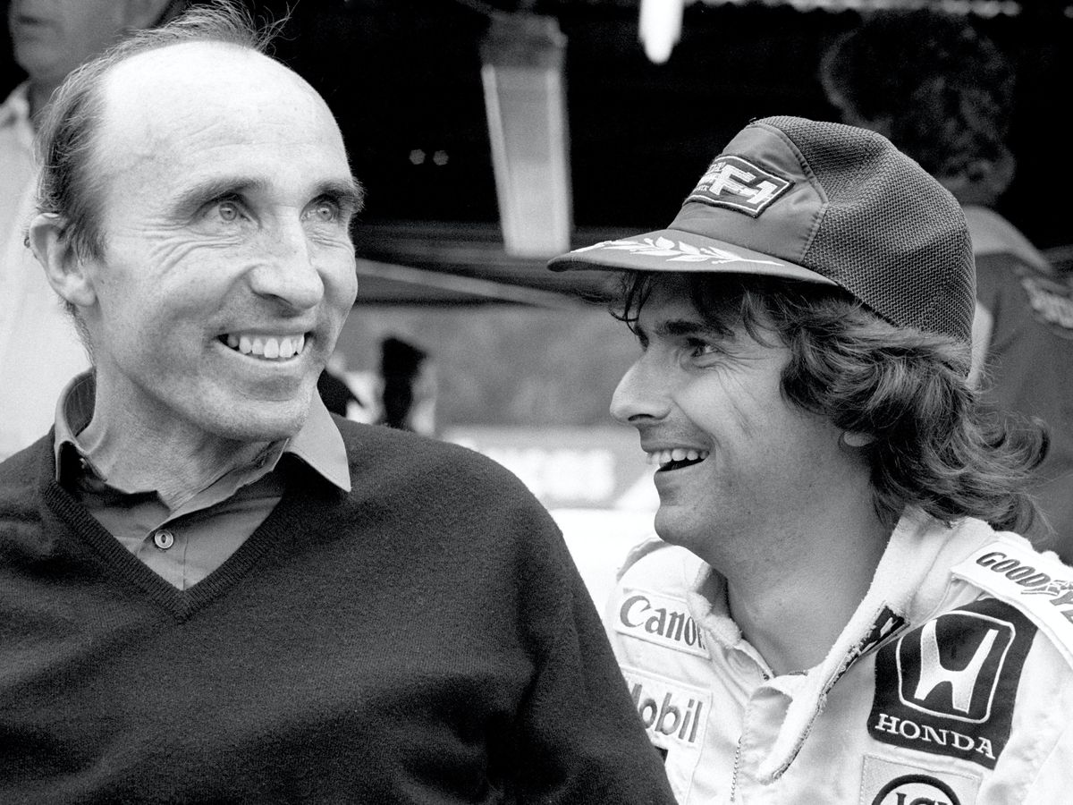 Nelson Piquet, right, with Williams team boss Frank Williams