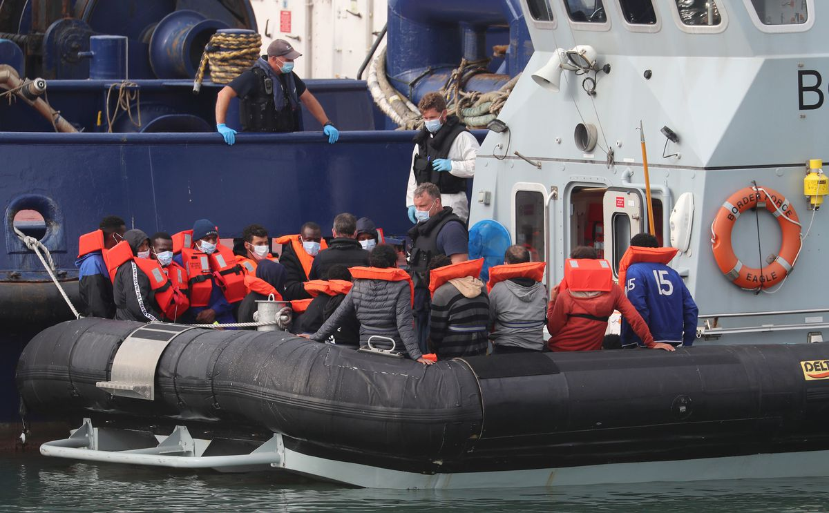 Migrants being rescued from the English Channel