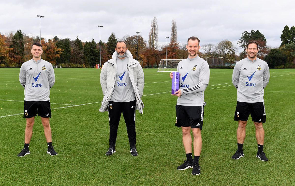 From left: Ed Ames (First team performance analyst), Nuno Espirito Santo, John Boston (First team performance analyst), Mat Pearson (Head of performance and research).