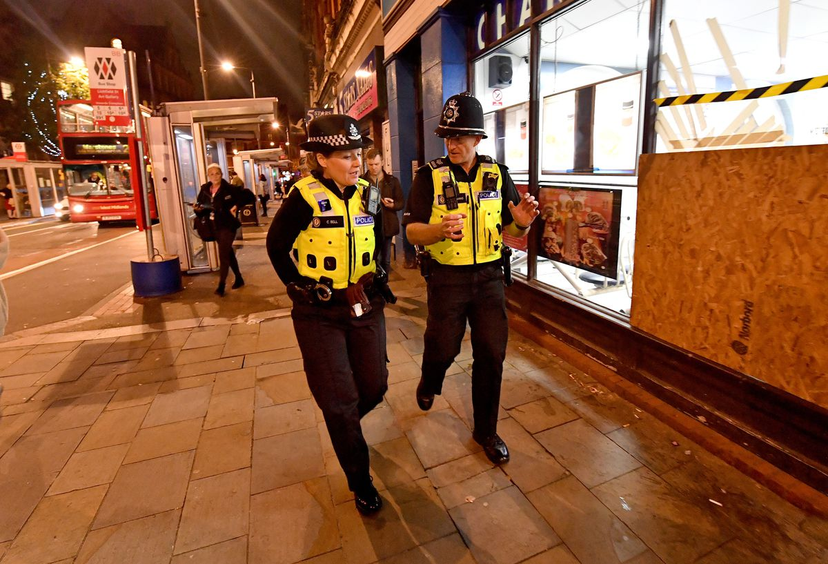 Assistant chief constable Claire Bell and Sgt Adam Bell out in Wolverhampton