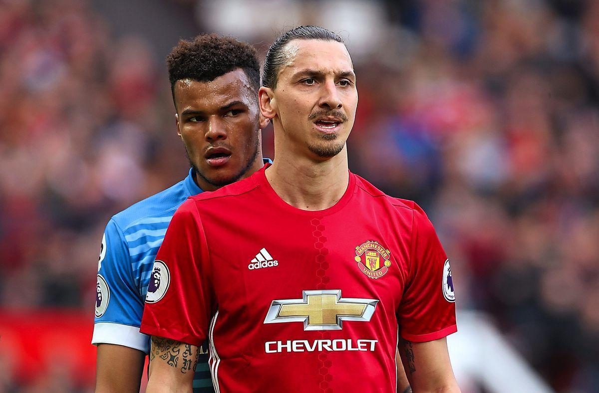 Zlatan Ibrahimovic and Bournemouth defender Tyrone Mings