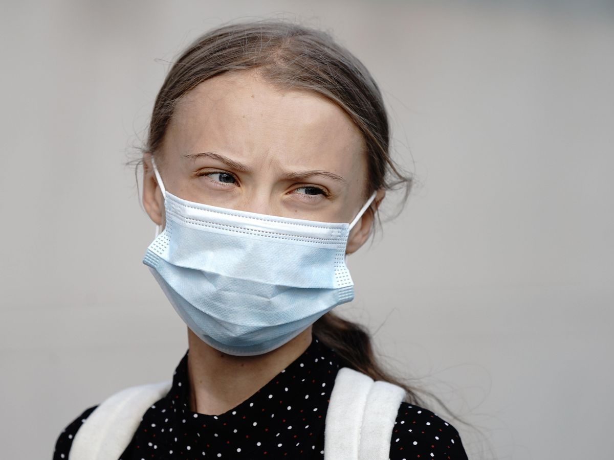 Climate activist Greta Thunberg arrives for a meeting with German Chancellor Angela Merkel at the chancellery in Berlin