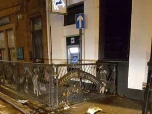 The white Mazda hit the railings outside Lloyds Bank in the centre of Stone (Image by Little Bit of Stone)
