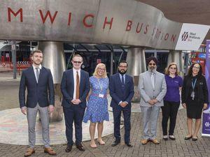 From left: Michael Thornton (TfWM), Matthew Savin, Claire Williams (TfWM), Sandep Shingadia (TfWM), Cllr Iqbal Padda (Sandwell Council), Vicky Beddows (TfWM) and Sophie Allison (West Midlands Metro)