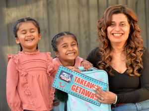 Mum Raj with Amaya and Arianna who were announced as Getaway winners on Ant and Dec's Takeaway TV show