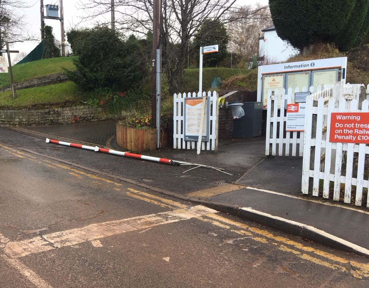 The damaged level crossing