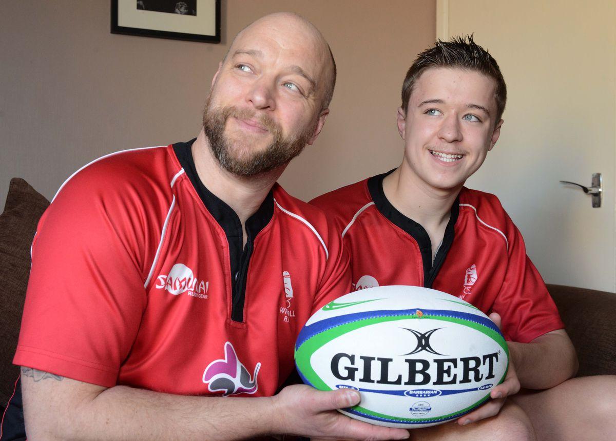 Rhys Jones, 13, with father Gavin.