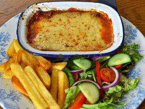 Italian treat – the lasagne, chips and saladPictures by John Sambrooks