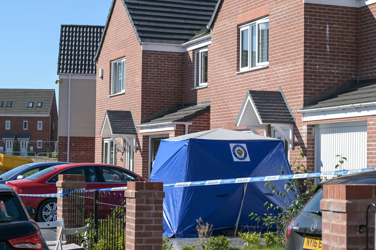A police tent at the scene in Tangmere Road. Photo: SnapperSK