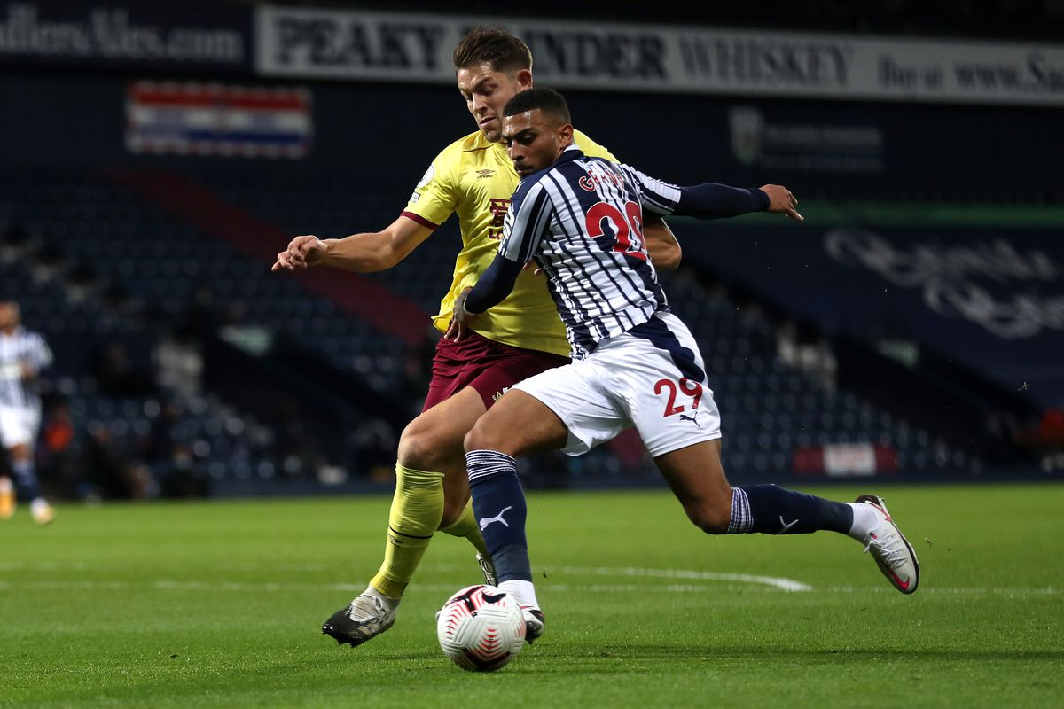 James Tarkowski of Burnley and Karlan Grant of West Bromwich Albion. (AMA)