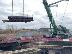 The Tame Valley canal bridge is being demolished in another major step forward in construction for the Wednesbury to Brierley Hill Metro extension.