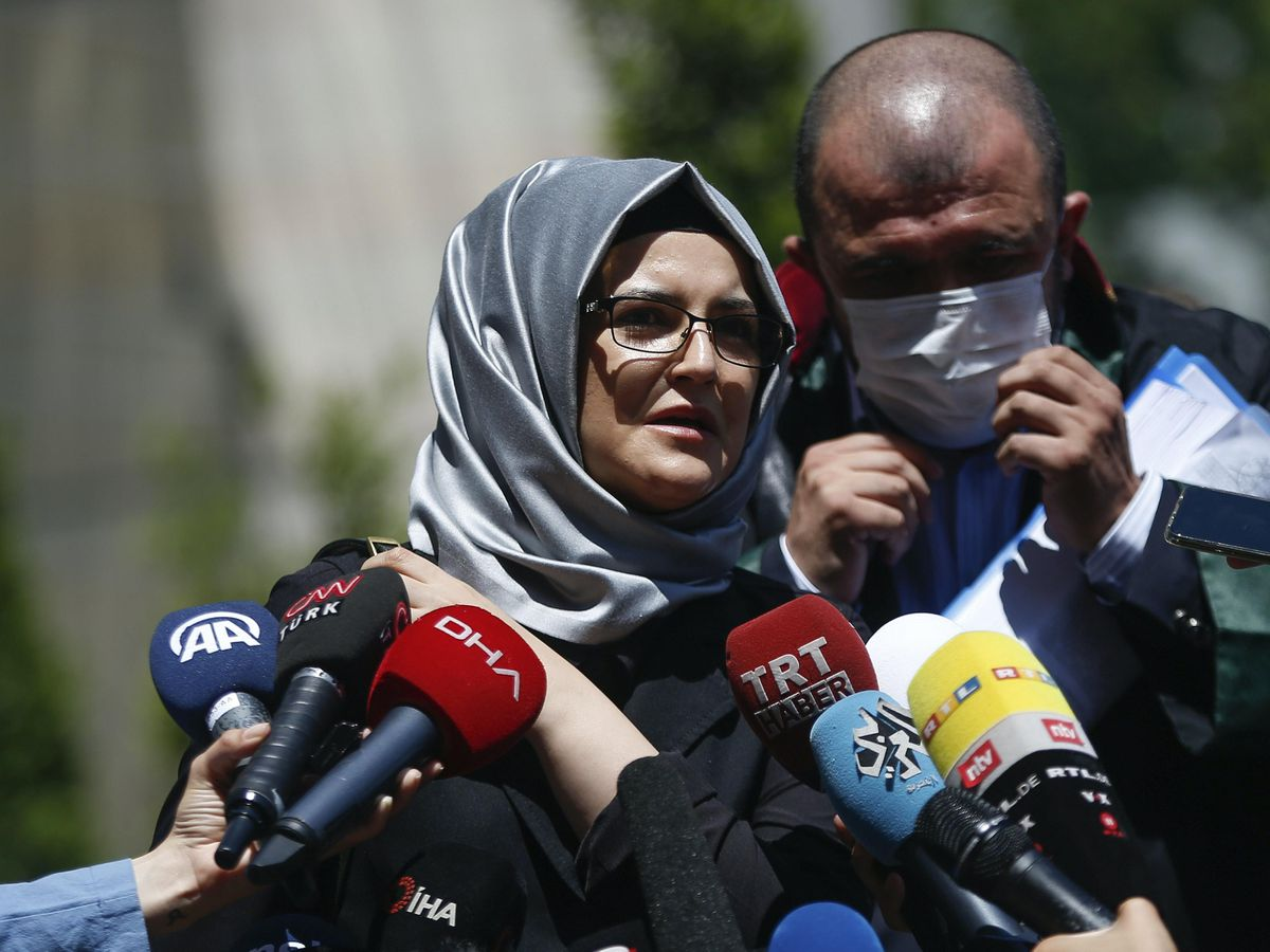 Hatice Cengiz, the fiancee of Saudi journalist Jamal Kashoggi, talks to members of the media (Emrah Gurel/AP)