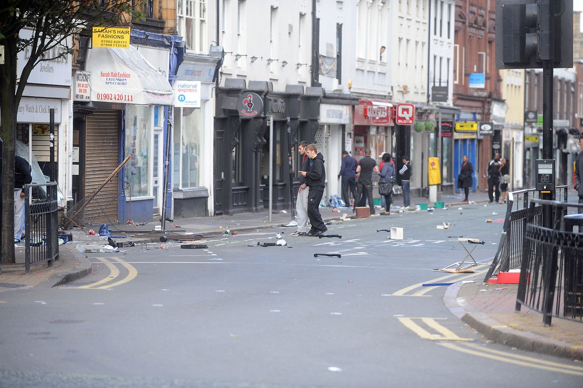 Scenes from the riots in Wolverhampton