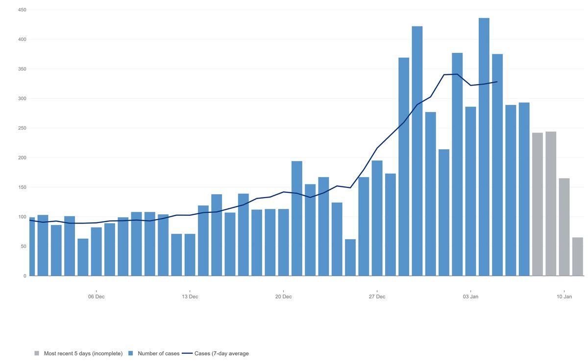 The coronavirus case rates in Dudley. Data: https://coronavirus.data.gov.uk/
