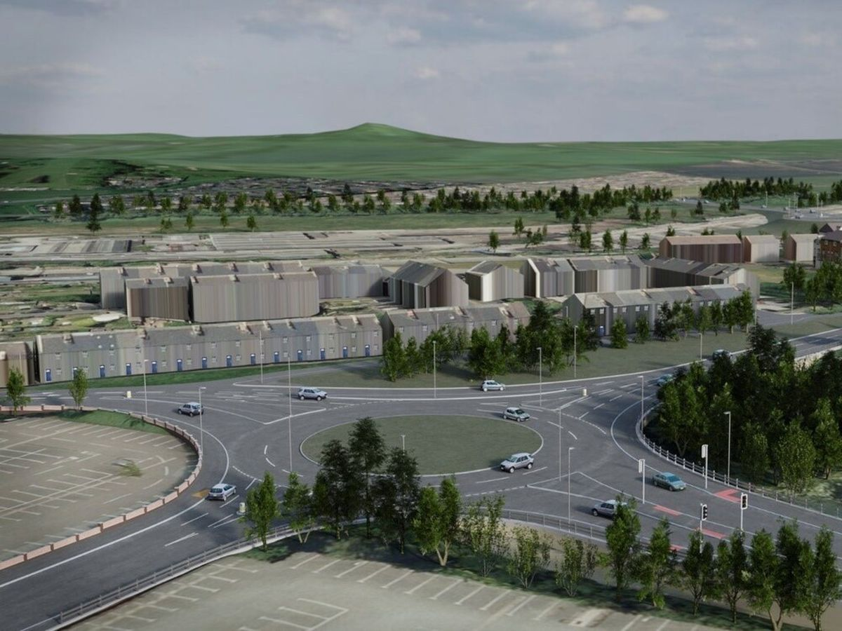 An artist's impression showing the new roundabout near Doxey Road Car Park