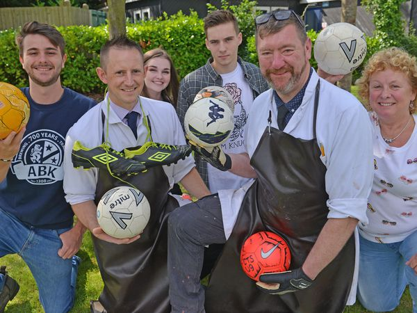 WALSALL COPYRIGHT TIM STURGESS EXPRESS AND STAR......23/08/2021   Blackwood butchers, Streetly, holding a charity football match to raise funds for a defibrillator. Picturd left, Jack Dubberley, Scott Murcott, Molly Millin,Ben Wright,Neil Puch and Michelle Stephens....