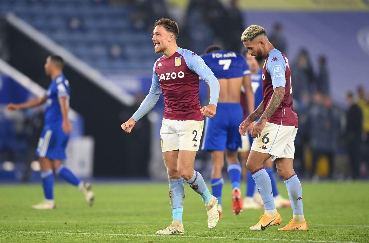 Matty Cash celebrates Villa's win at Leicester.