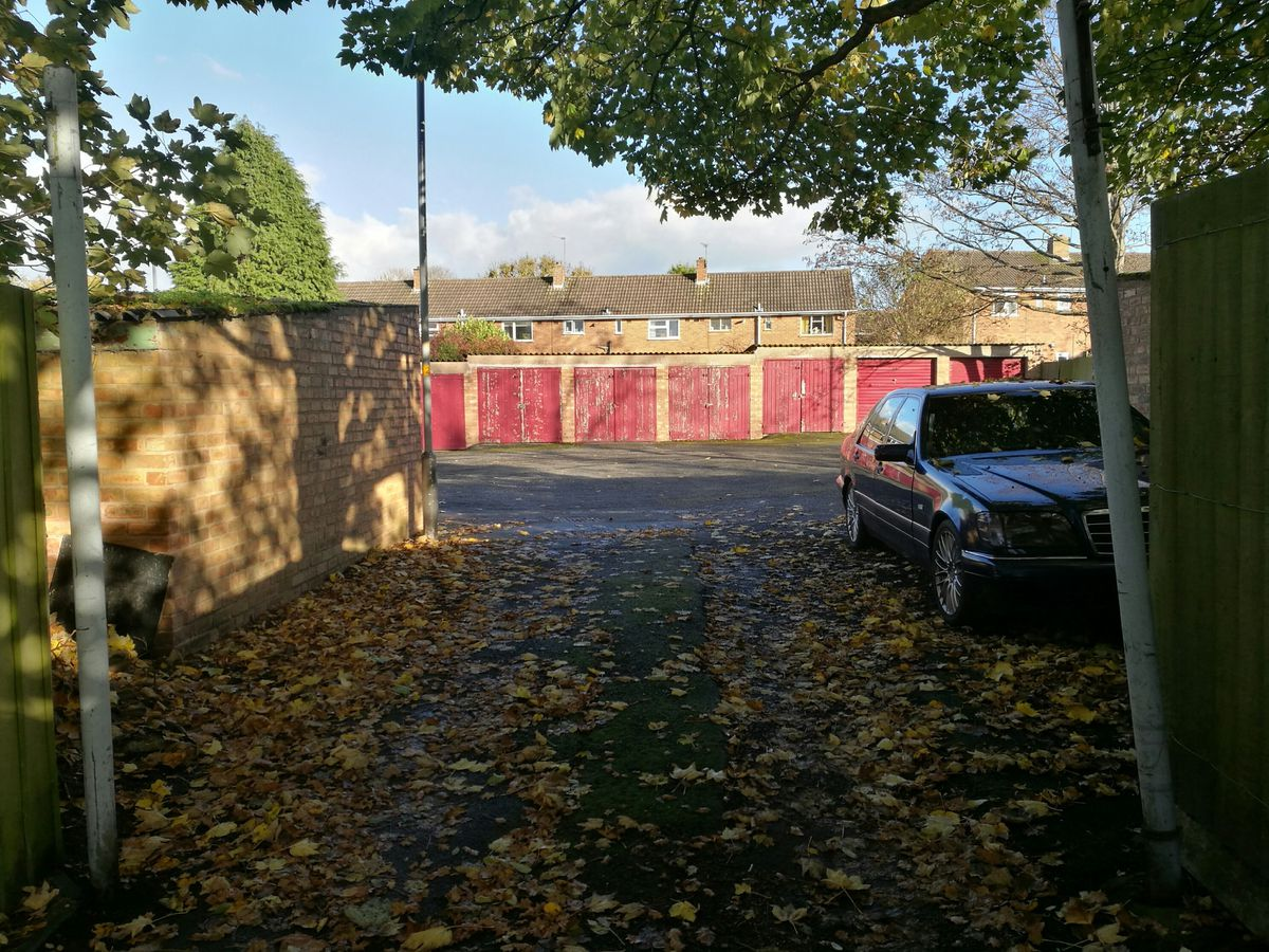 The garages in Westacre Crescent, Finchfield
