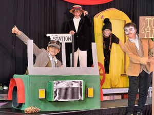 WOLVERHAMPTON COPYRIGHT EXPRESS AND STAR STEVE LEATH 02/07/2021..Pics at Wolverhampton Grammar Junior School, where they have been putting on a production of 'The Wind in the Willows'. At thr front is Toad: Alfie Davies 11, Badger: Jack Richards 11, back: Ratty: Lennon Beddows 11 and Mole: Francesca Yeoman 11..