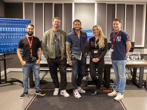 Brian McFadden and Keith Duffy were given a guided tour of the facilities at Resonance by Alex Prince, Lloyd Daker and Rosanna Lefevre. Photo: Resonance Education