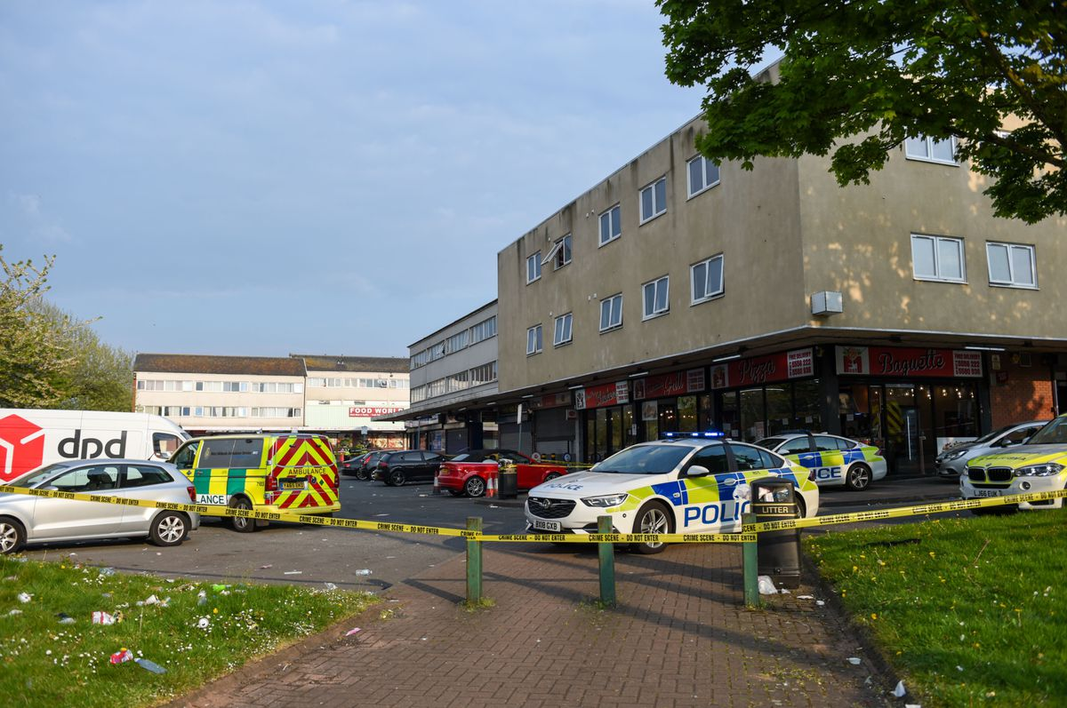 Emergency services were stationed outside West Cross Shopping Centre. Photo by Snapper SK