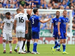 Leicester outfox Wolves despite Jamie Vardy seeing red