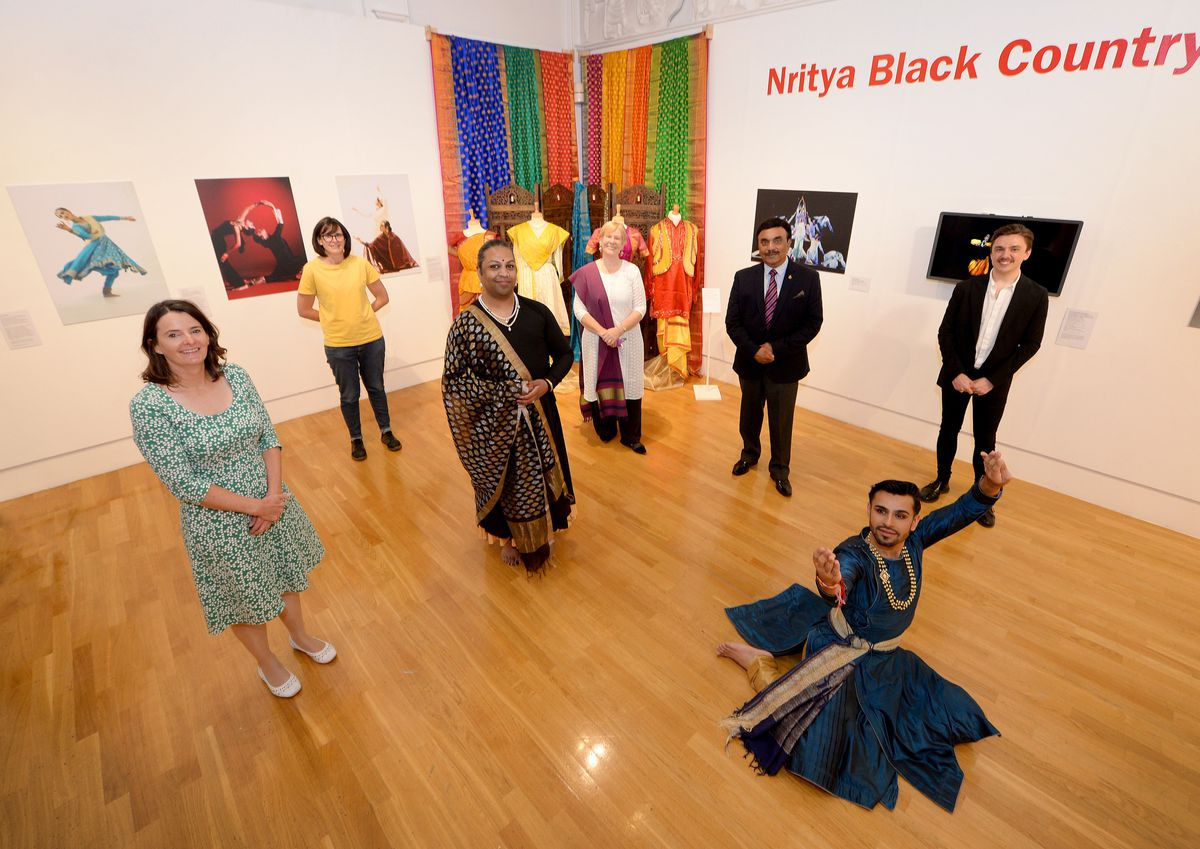 Marguerite Nugent, manager of Art and Culture, technical officer Naomi Greeves, curator Jaivant Patel, project manager Linda Saunders, Ramesh Sharma QPM, curatorial officer Oliver McCall and dancer Shyam Dattani, who were all involved in the exhibition