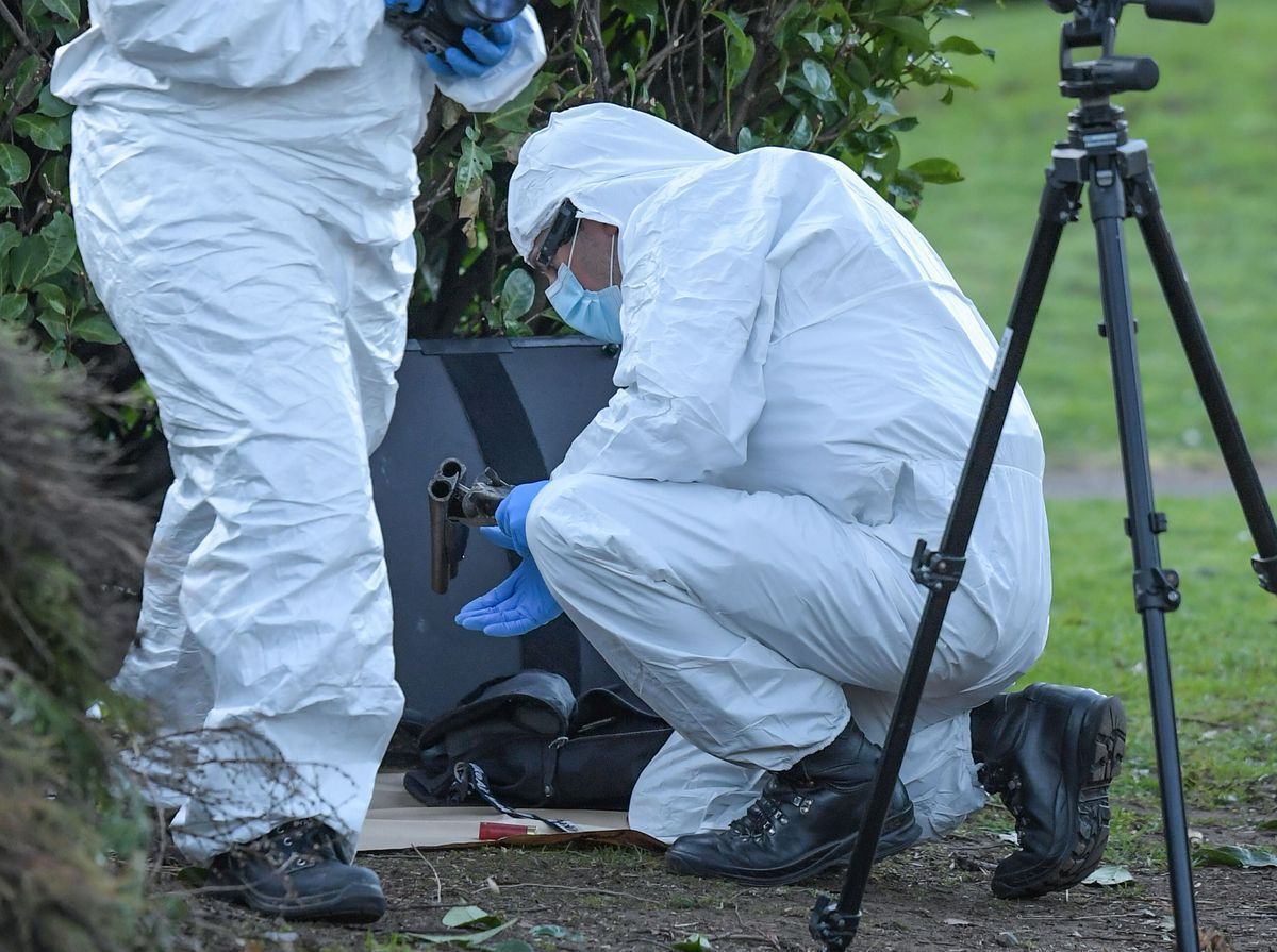 Police recover a weapon after a woman was shot in Bradmore, Wolverhampton. Photo: Snapper SK.