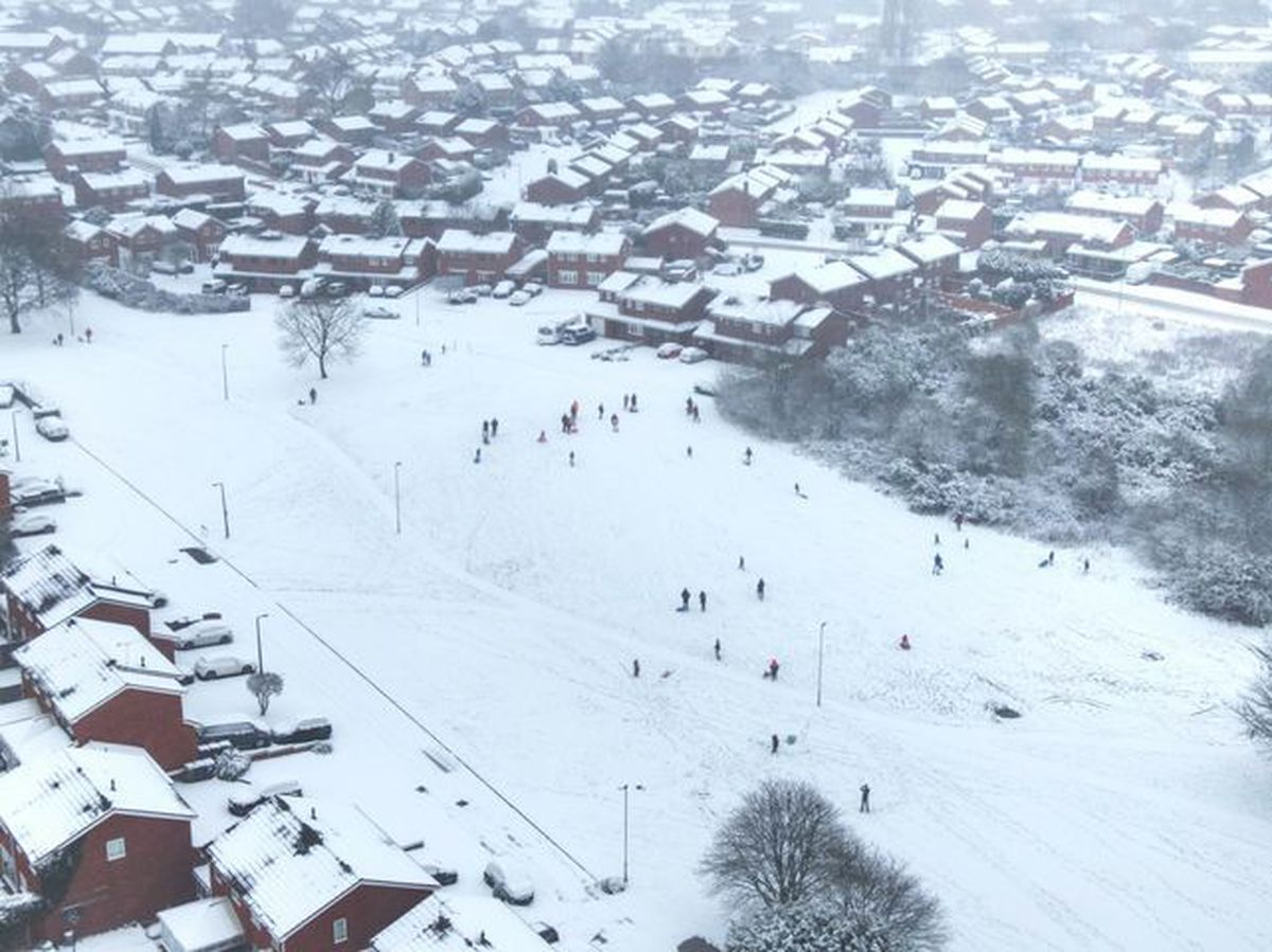 Drone photos of sledgers at Coppice Farm. Photo: Billy Turner
