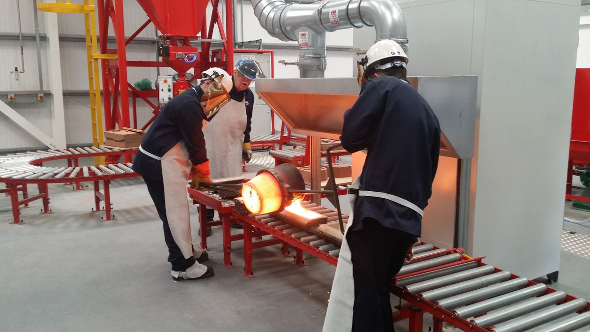 Apprentices learning to cast metal at the National Foundry Training Centre
