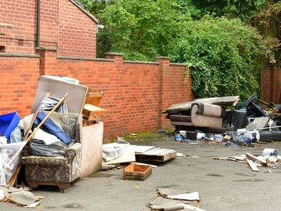 Sofas, wardrobes and carpet dumped at former care home
