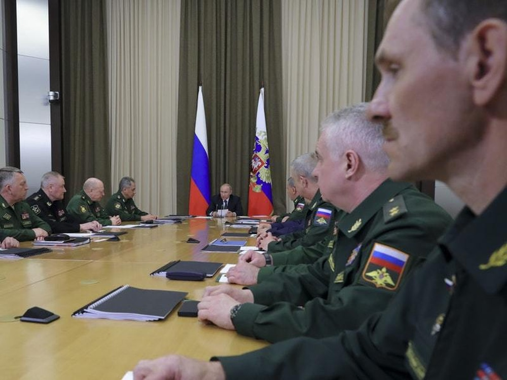 Russian President Vladimir Putin at a meeting with the top military brass