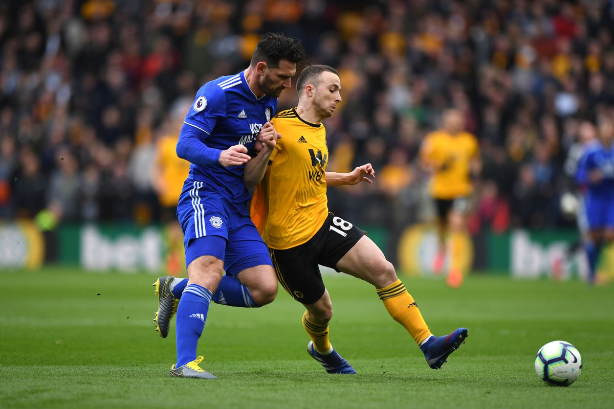 Sean Morrison of Cardiff City and Diogo Jota of Wolverhampton Wanderers. (AMA/Sam Bagnall)