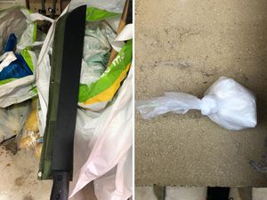 Machetes and drugs were seized in Dudley. Photo: @CountyLines_WM