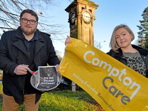 WOLVERHAMPTON  COPYRIGHT TIM STURGESS EXPRESS AND STAR...... 21/01/2021. Businesses in Tettenhall have teamed up to launch a community initiative that will see raffle tickets bought and prizes handed out in aid of Compton Care. The initiative has been launched by Jen Olma and Chris Wyer ( pictured). Jen runs a nail shop and Chris runs Baked In Tettenhall. Meet them at the bakery shop, located at 1 Upper Green, Tettenhall .. ..