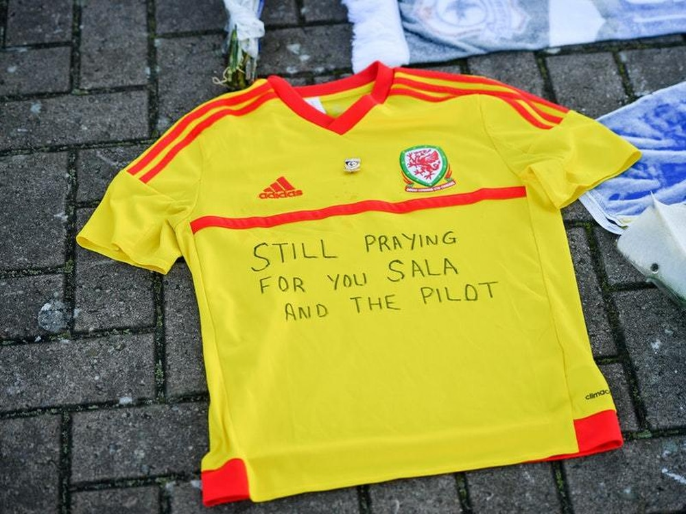 4a459cb22 A football shirt with a message written on it left outside Cardiff City  Football Club