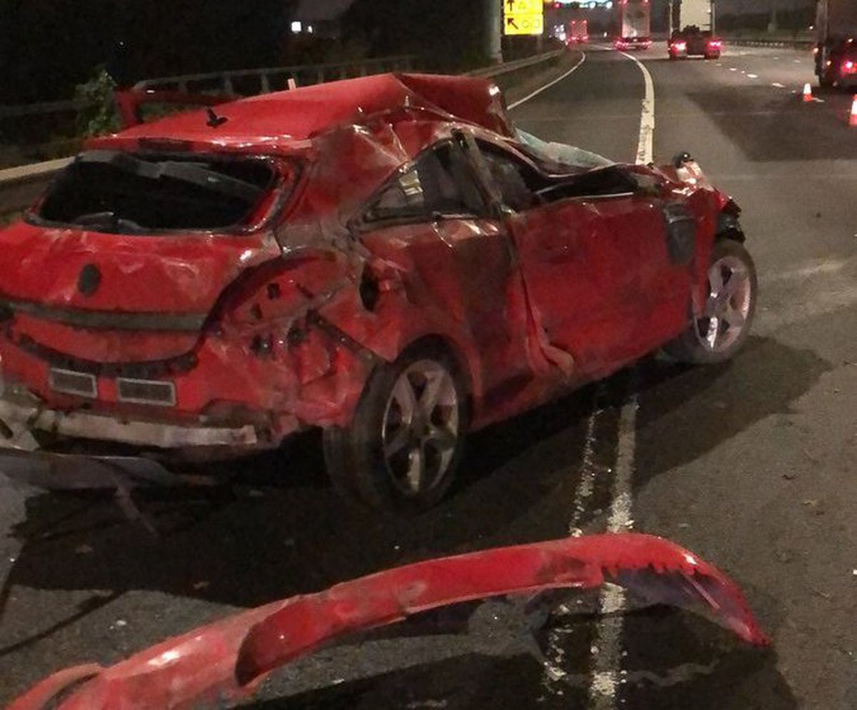 The aftermath of the crash on the M6 near Wednesbury. Photo: CMPG