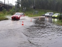 M5 slip road closed due to flooding