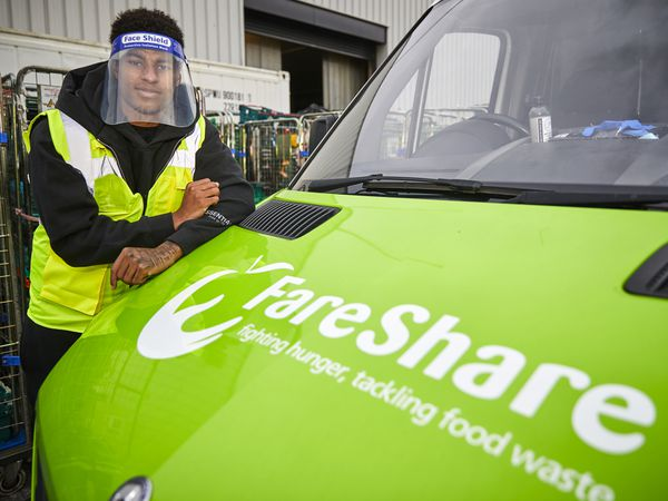 Marcus Rashford visiting FareShare Greater Manchester