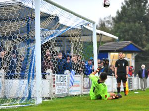 TELFORD COPYRIGHT MIKE SHERIDAN Over the bar - Telford's Russ Griffiths watches on as Oliver Hayward's penalty flies over to give the Bucks the advantage during the FA Cup 2Q fixture between AFC Telford United and Chasetown at the Scholars Ground, Chasetown on Saturday, October 4, 2020...Picture credit: Mike Sheridan/Ultrapress..MS202021-029.