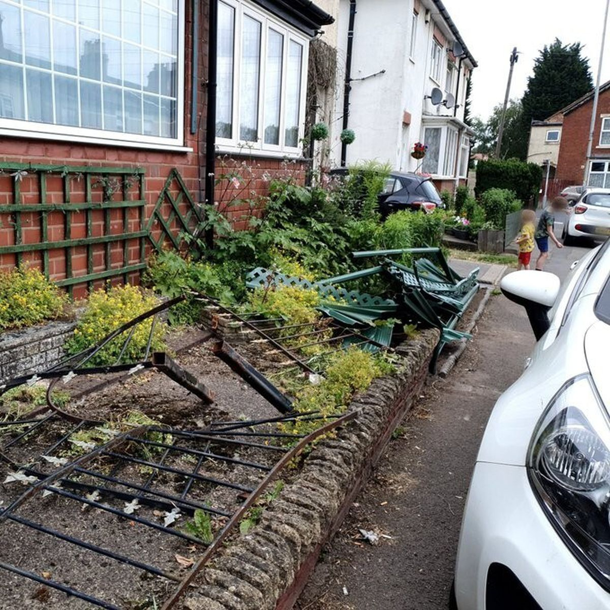 The collision also caused damage to fencing along Aldersley Road. Photo: Si G