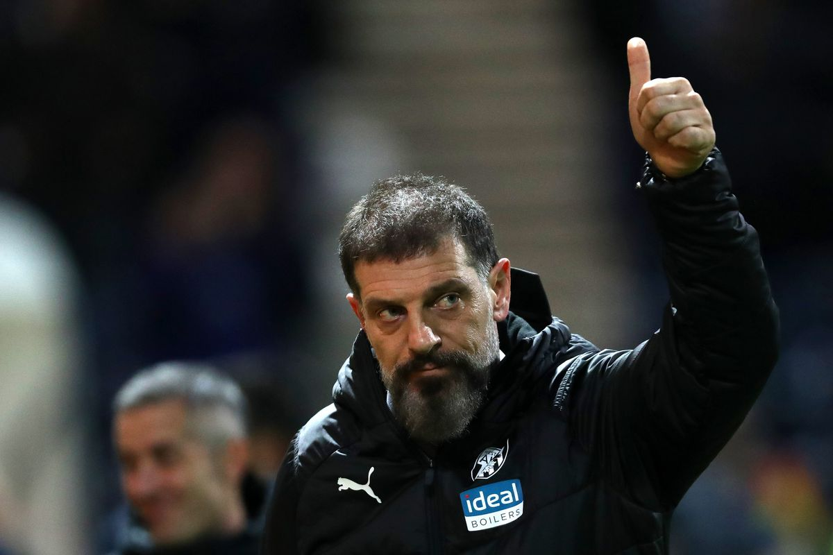 Slaven Bilic head coach / manager of West Bromwich Albion gives a thumbs up after his side beat Preston North End 0-1 (AMA)