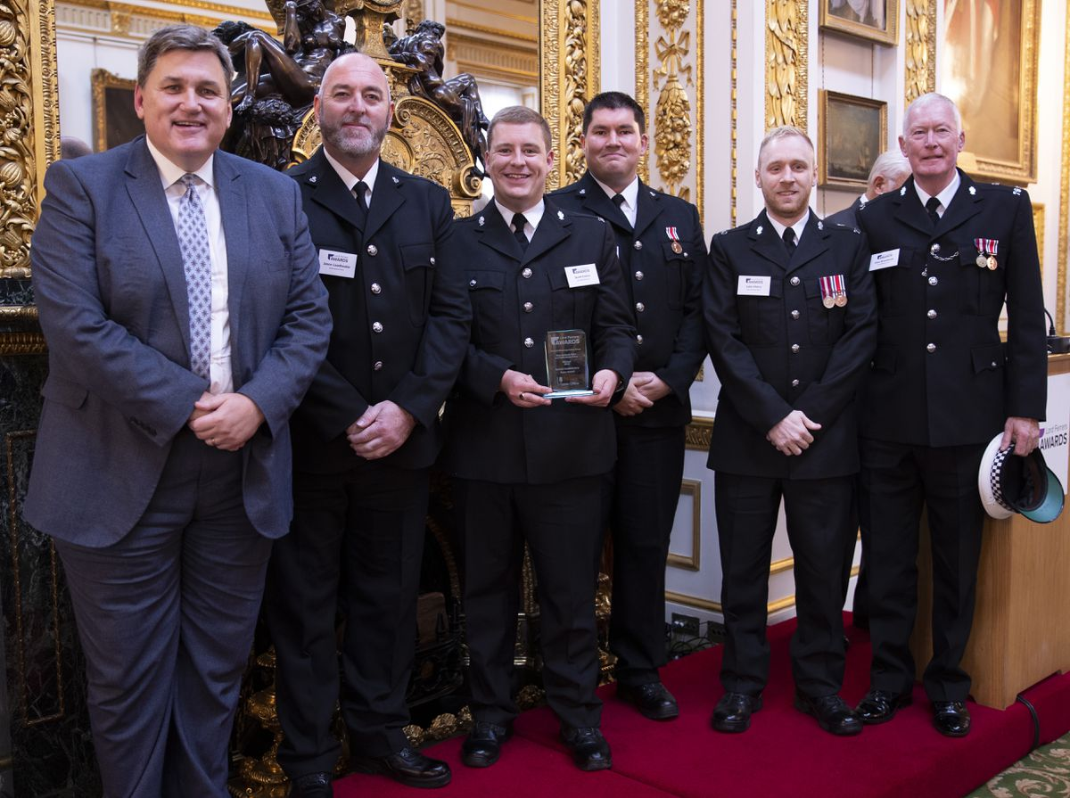 Members of the Central Motorway Police Group Special Constabulary Team with Kit Malthouse