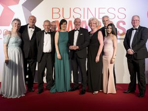 Customer Service Champion award winner STK Fire and Risk Management with sponsor Gail Arnold from the Black Country Chamber -The Platinum Group