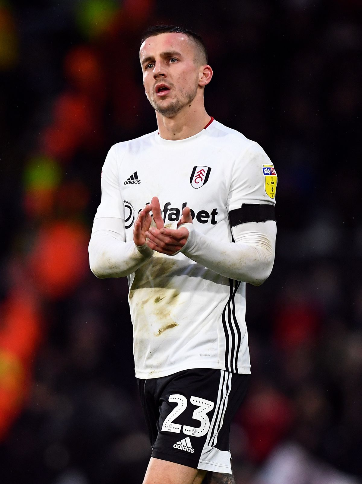 Fulham's Joe Bryan applauds the fans after the final whistle at the Sky Bet Championship match at Craven Cottage, London.
