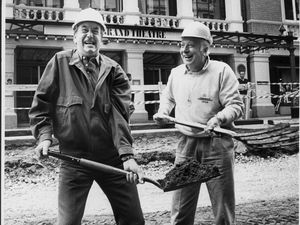 Actors Jack Douglas and Leslie Randall outside The Grand in 1988