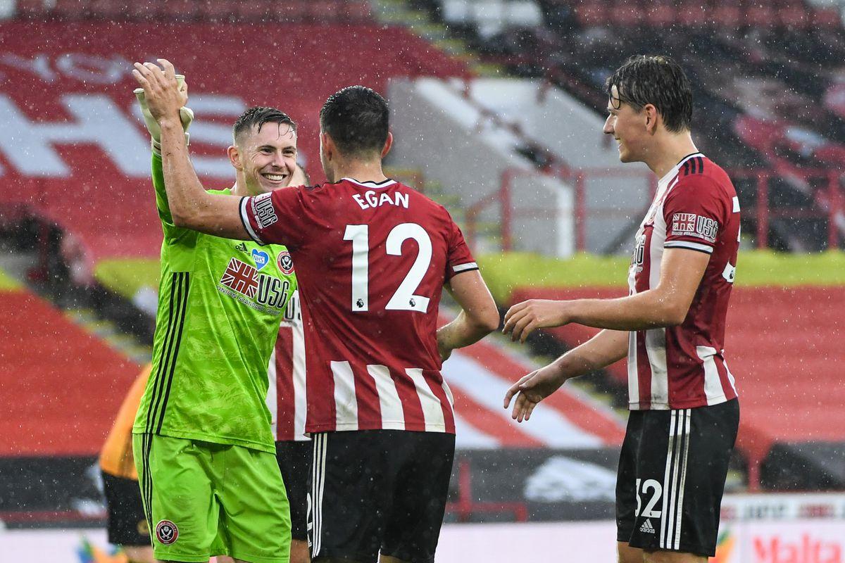 Dean Henderson of Sheffield United celebrates with John Egan of Sheffield United at full time (AMA)